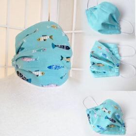 aqua blue fish fabric face mask