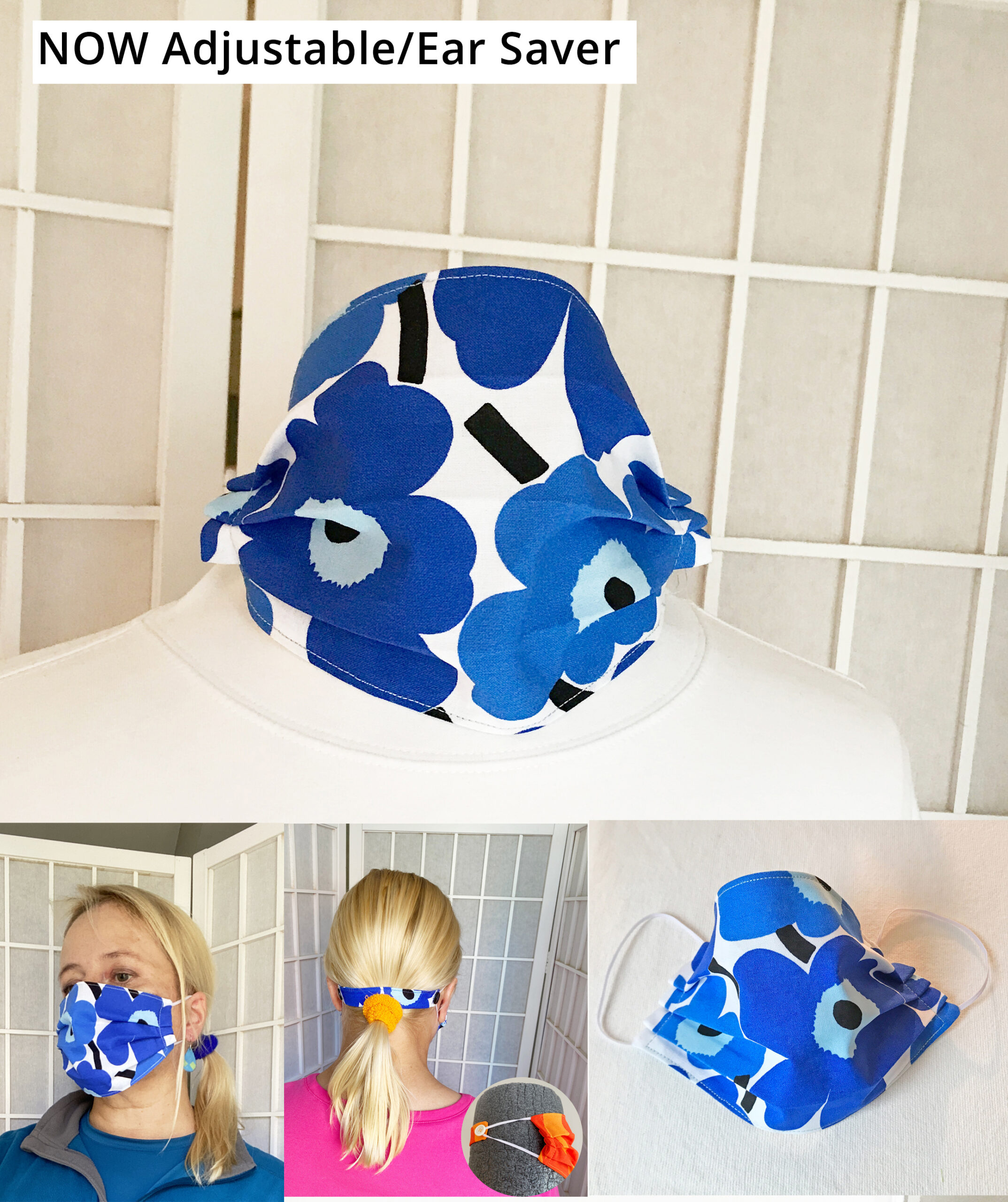 marimekko unikko poppy blue fabric face mask