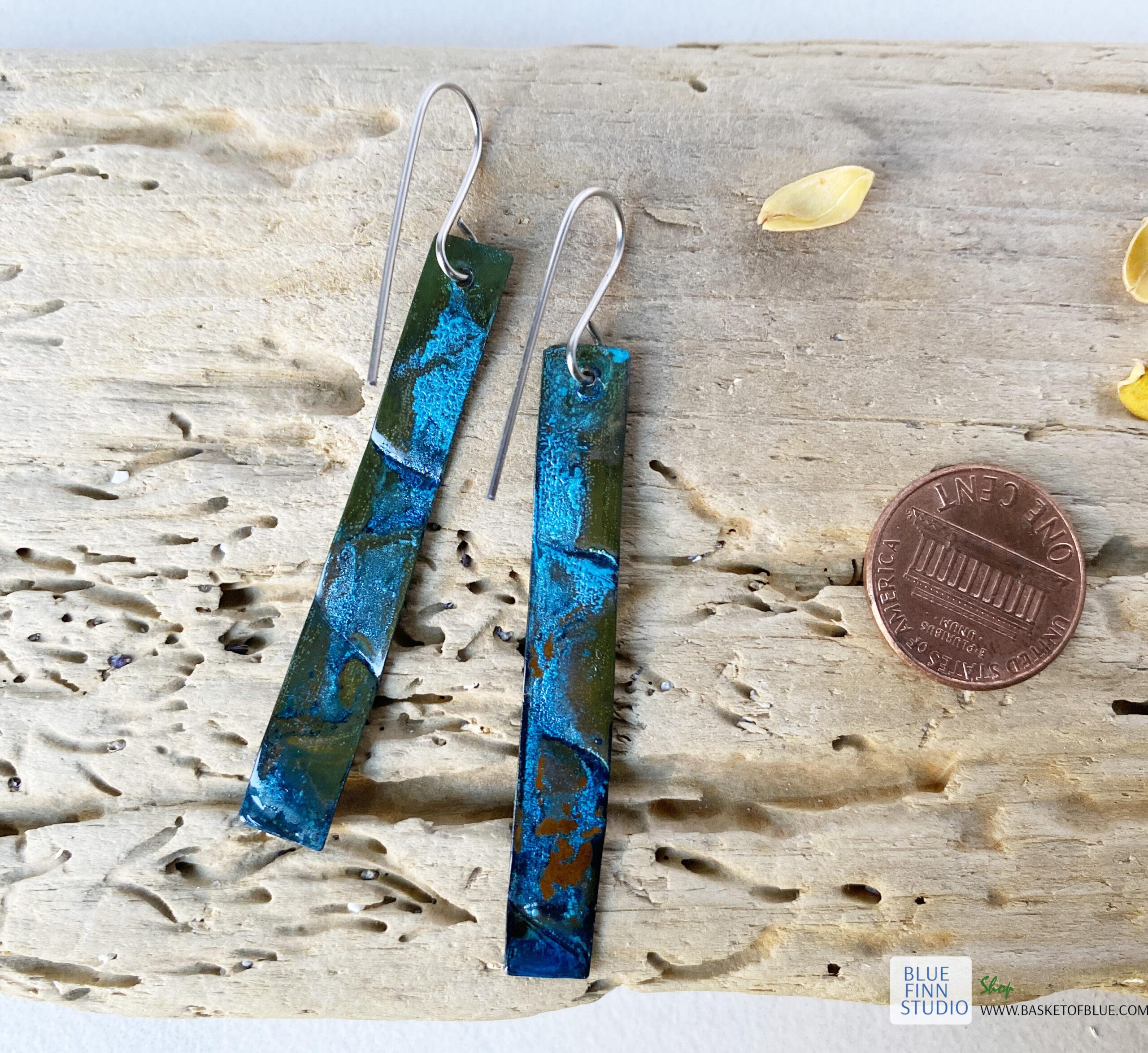long blue patina copper earrings