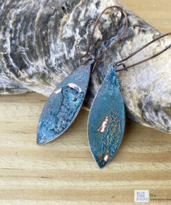 rustic copper patina pointed oval earrings