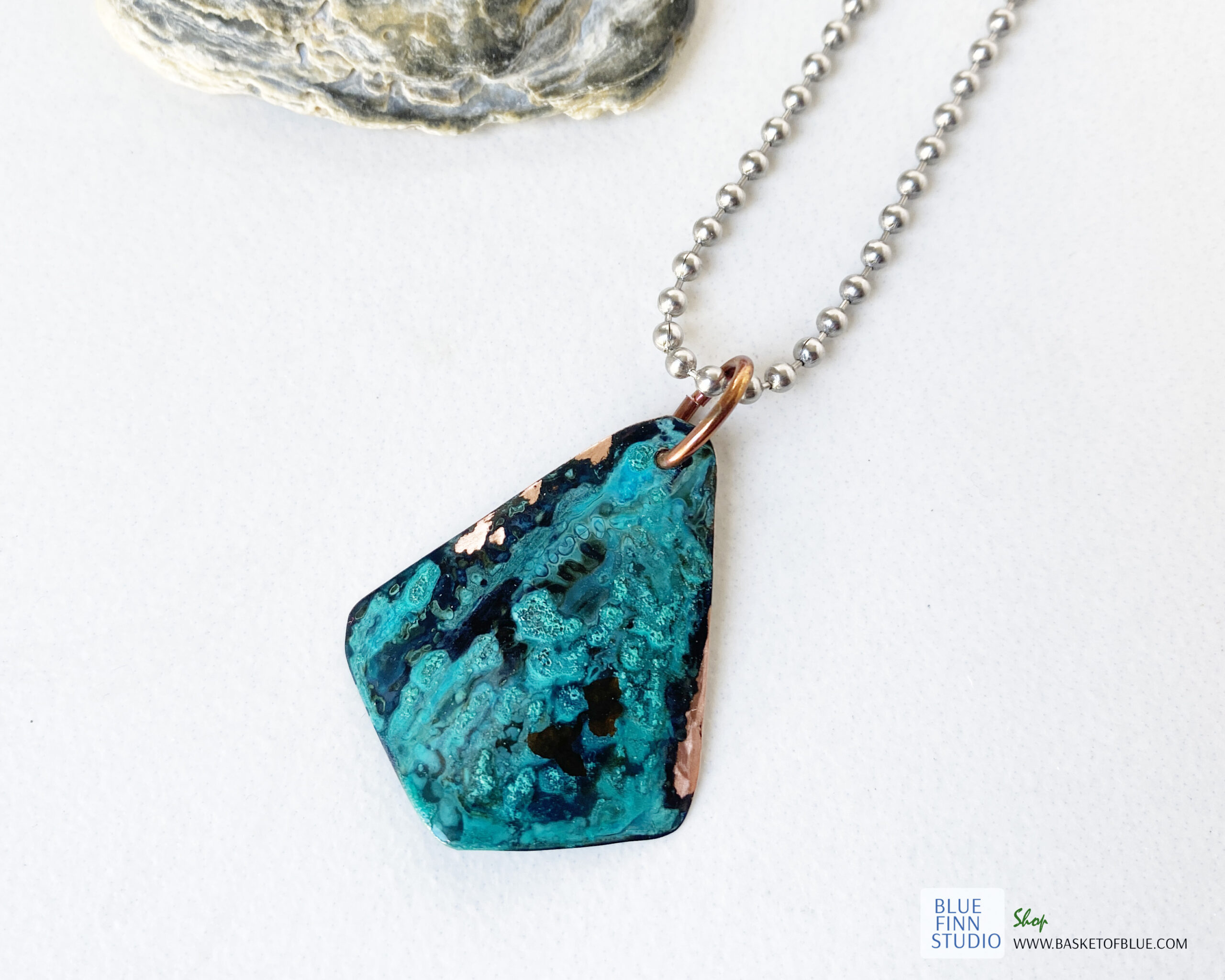 blue green verdigris patina necklace