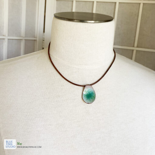 green pod enamel pendant