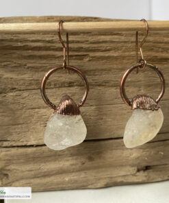 citrine electroformed copper earrings