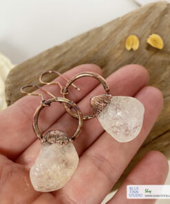 citrine copper earrings