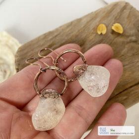 citrine copper earrings