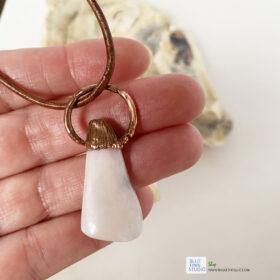 pink opal electroformed copper pendant