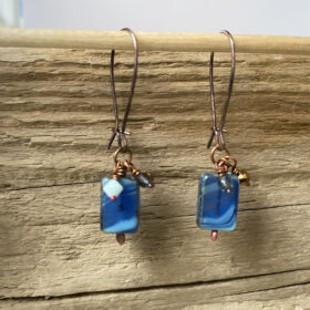 blue art glass bead earrings
