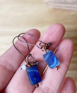 blue art glass bead earrings