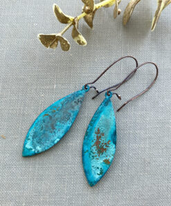 copper patina verdigris oval earrings