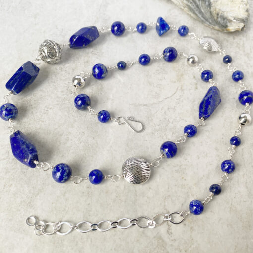 blue lapis long bead necklace with pewter silver plated
