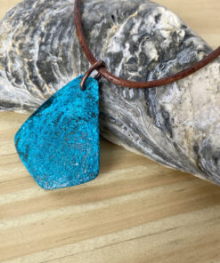 blue patina copper triangle necklace