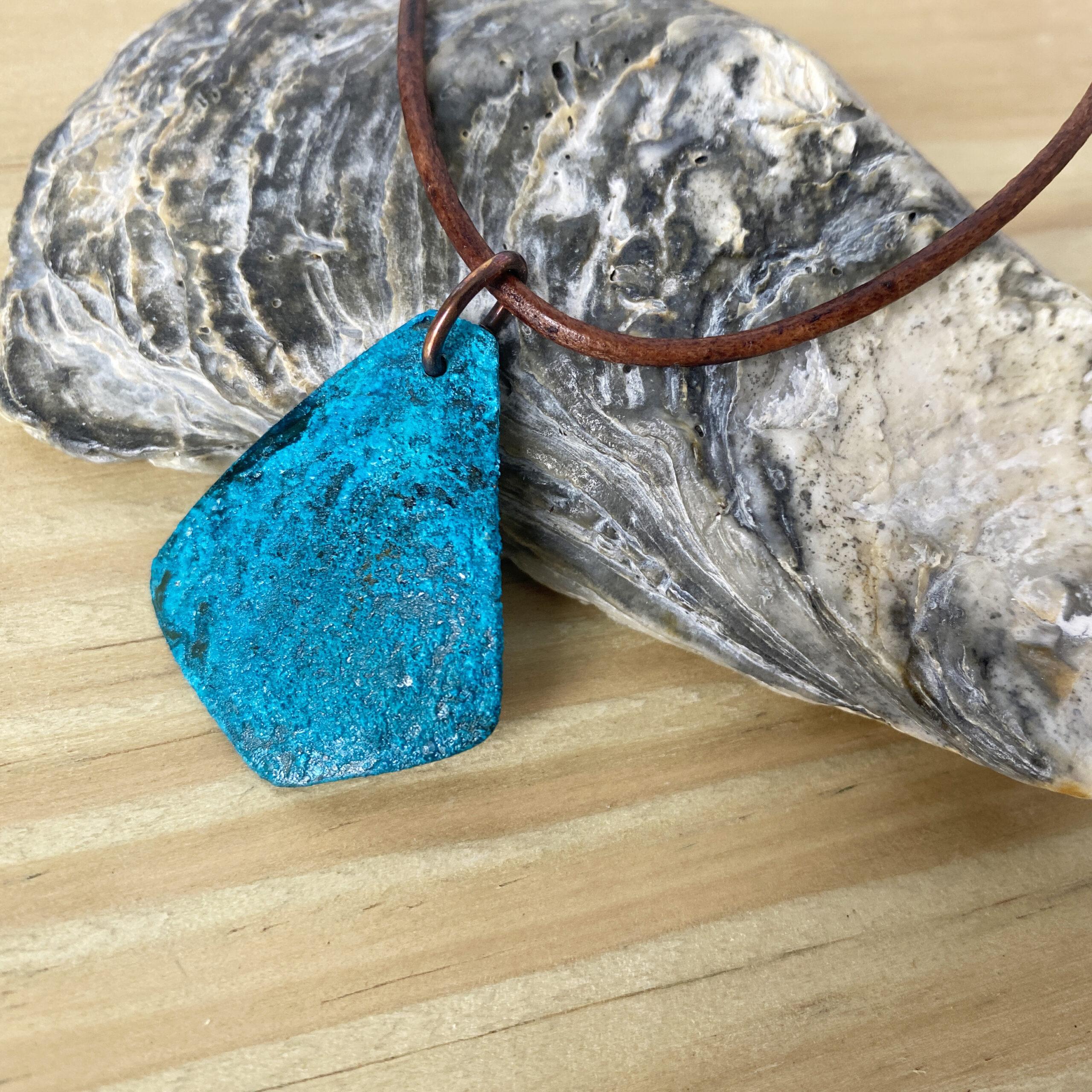 blue patina copper triangle necklace