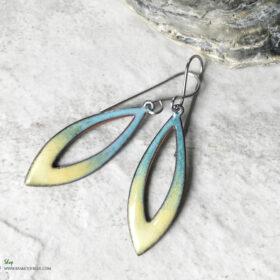 open oval aqua blue yellow earrings