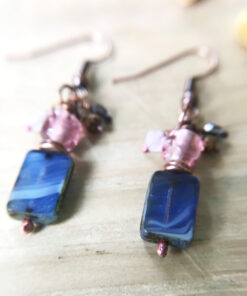 blue art glass earrings