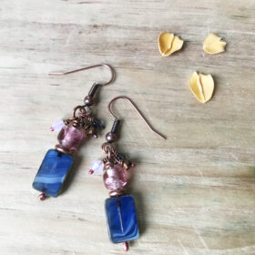 blue art glass earrings