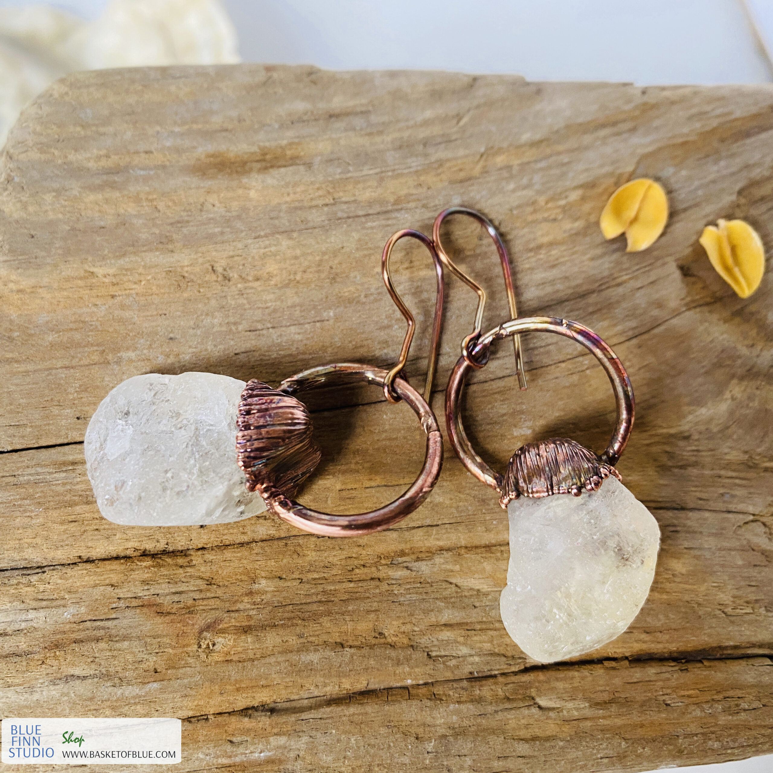 citrine electroformed copper earrings