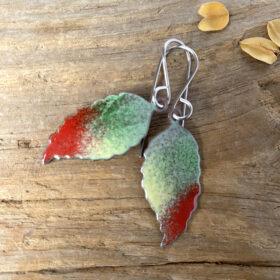 small enamel leaf earrings fall leaf