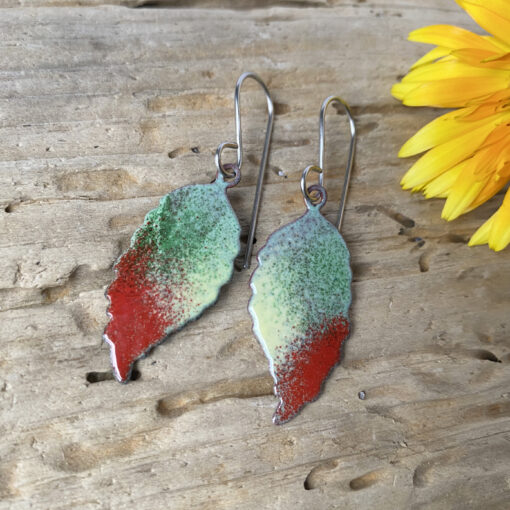 small enamel leaf earrings green and red fall leaf