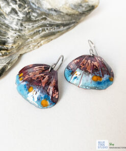 copper enamel ridged shell earrings boho jewelry