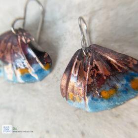 copper enamel ridged shell earrings boho jewelry
