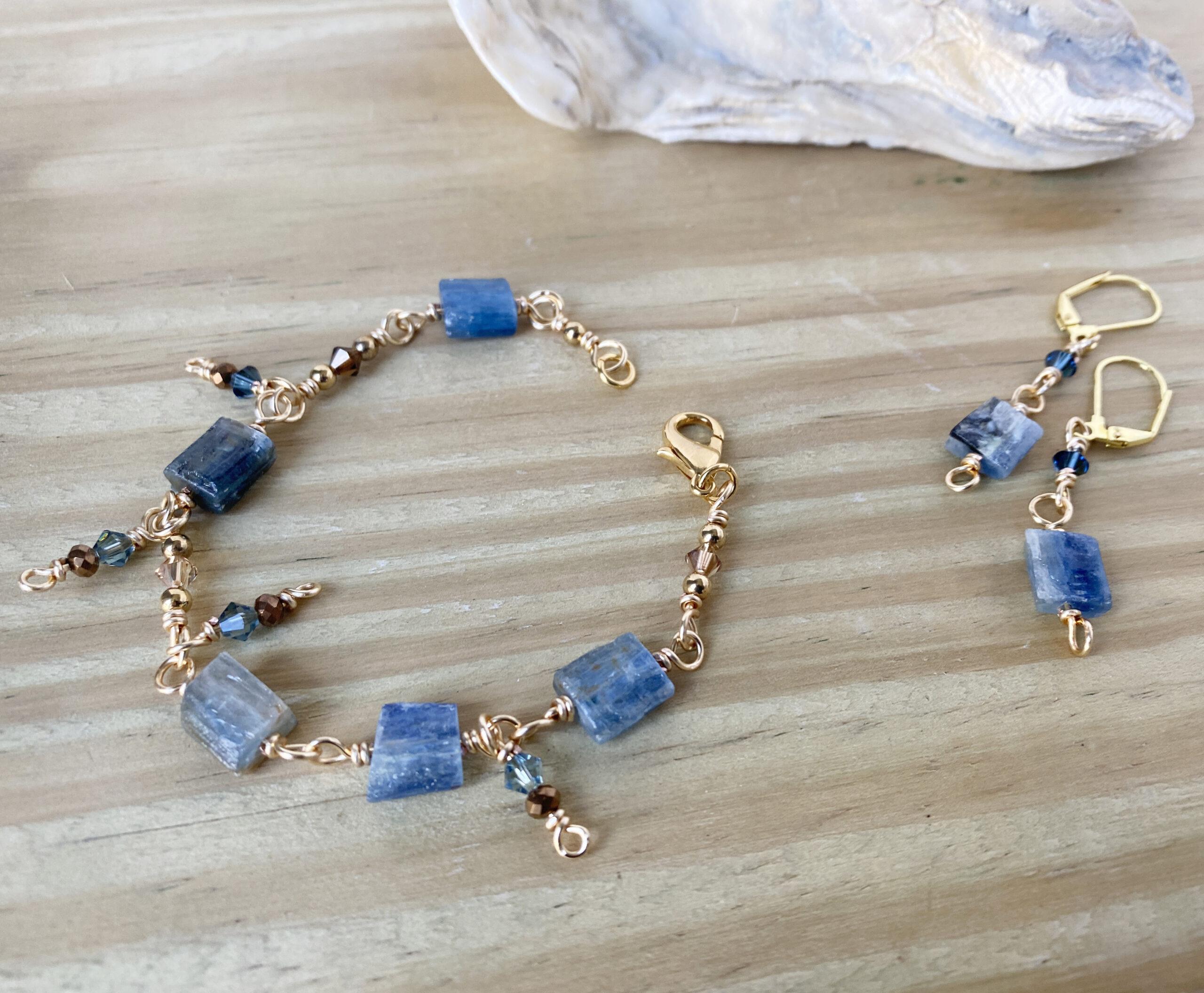 blue kyanite bracelet and earrings set