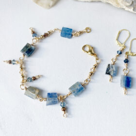 blue kyanite bracelet and earrings set