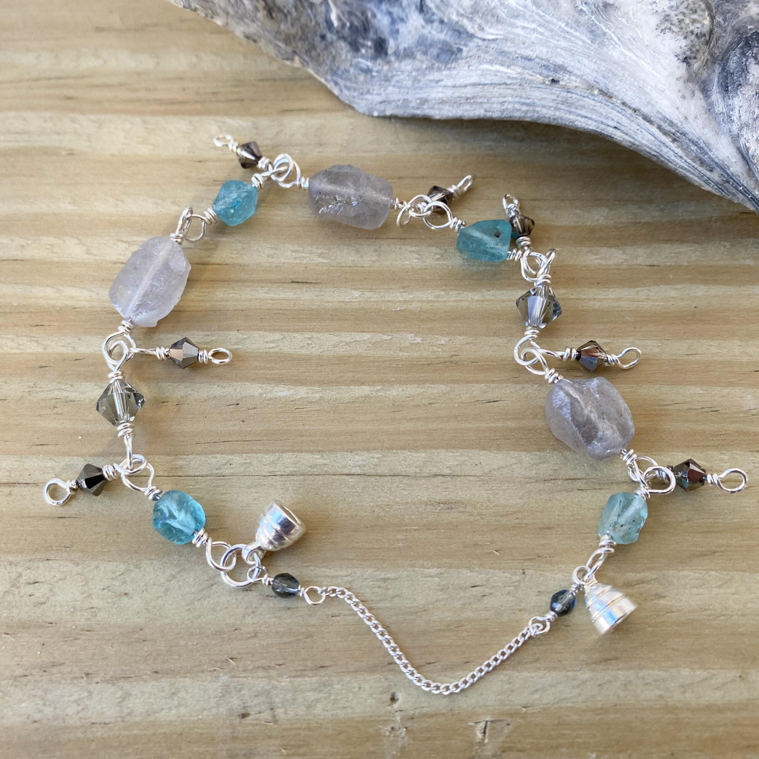 raw labradorite silver bracelet