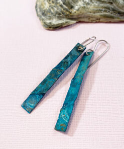 copper patina earrings long verdigris patina earrings