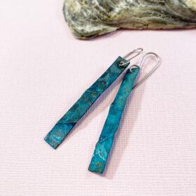 copper patina earrings long verdigris patina earrings