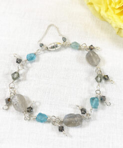 raw cut labradorite silver bracelet with green apatite