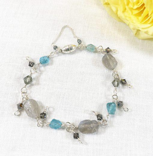raw cut labradorite silver bracelet with green apatite