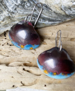 copper enamel shell earrings