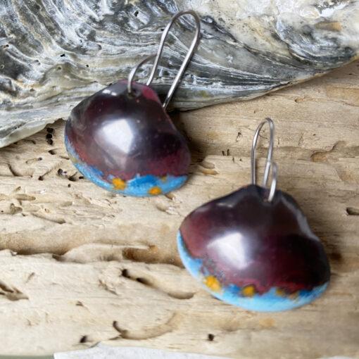 copper enamel shell earrings