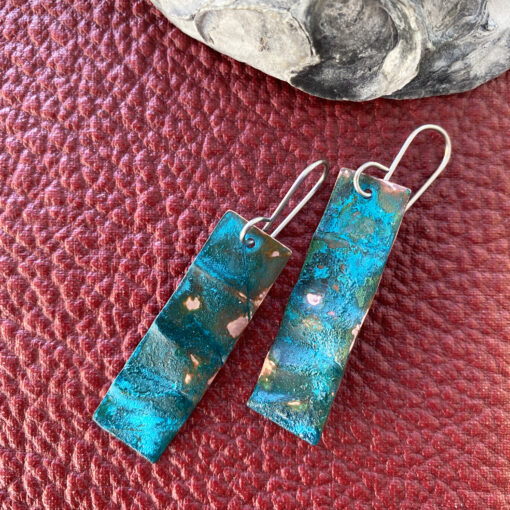 copper verdigris patina long rectangle earrings