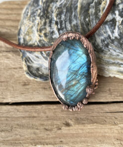 labradorite copper electroformed pendant
