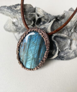 labradorite electroformed copper necklace