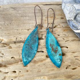 copper patina verdigris pointed oval earrings