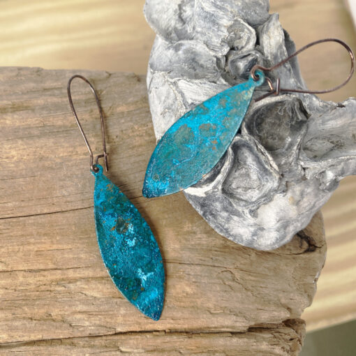 copper blue green patina pointed oval earrings