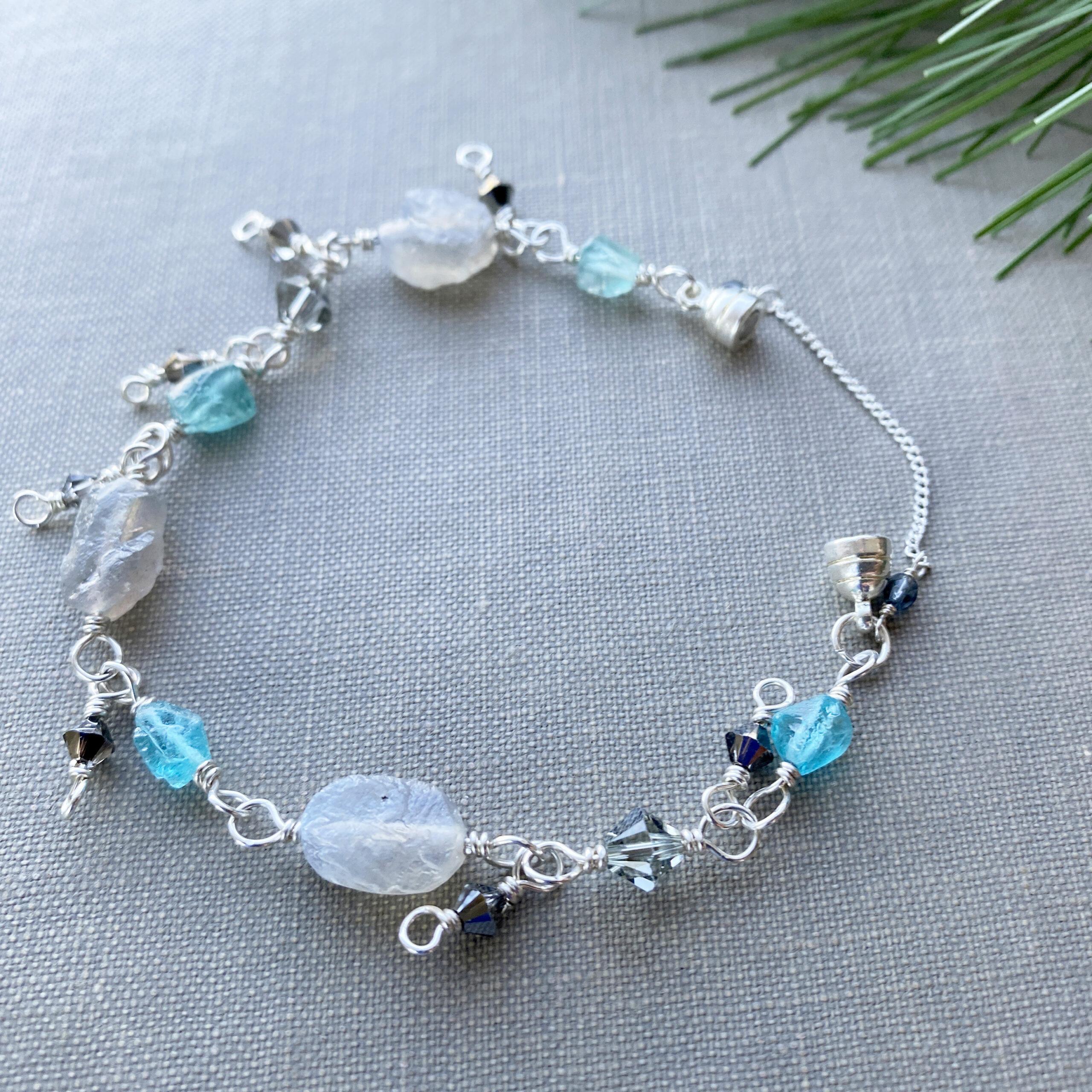 raw cut labradorite silver bracelet