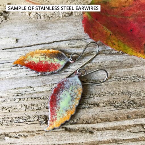 sample of stainless steel earwires on enamel leaf earrings