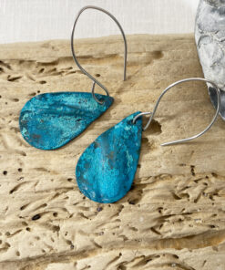 copper patina fold formed oval verdigris earrings