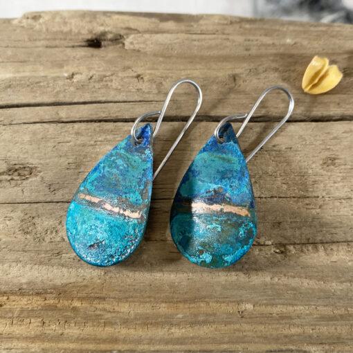 rustic copper oval patina verdigris earrings