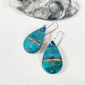 rustic copper oval patina verdigris earrings