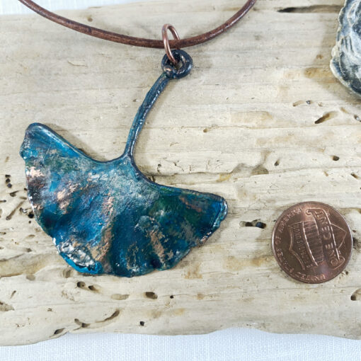 copper electoformed ginkgo leaf with blue patina mecklace