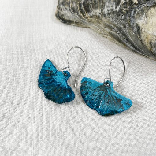 blue copper patina ginkgo leaf earrings