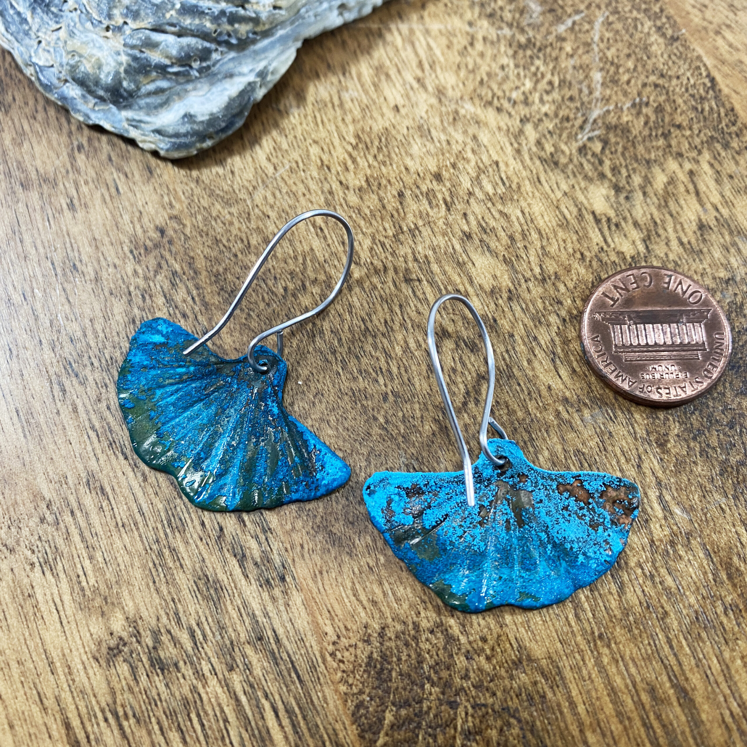 blue copper patina verdigris ginkgo leaf earrings