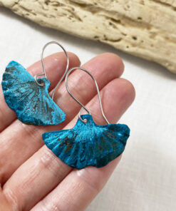 blue copper patina ginkgo leaf earrings