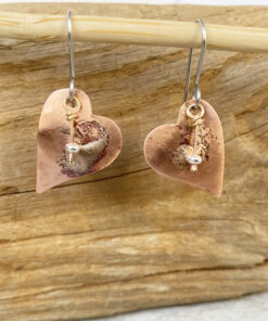 copper heart earrings mixed metal silver heart