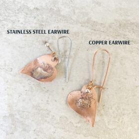 copper heart earrings mixed metal silver heart