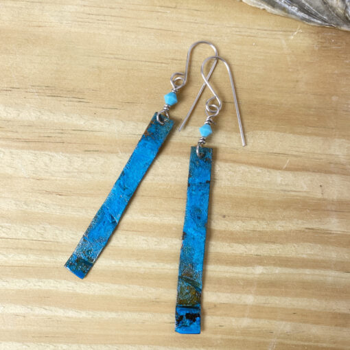 long copper patina rectangle earrings with Swarovski turquoise